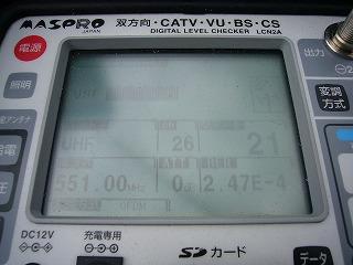 25素子UHFアンテナでの測定値