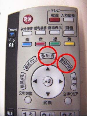 EPGを使うにはリモコンの番組表、番組内容のボタンを押すだけ